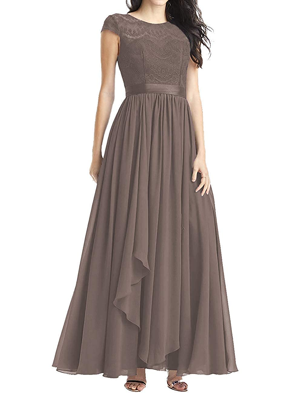 Brown Mother of The Bride Dresses Plus Size Evening Dresses with Sleeves Formal Gowns for Women Evening Dress