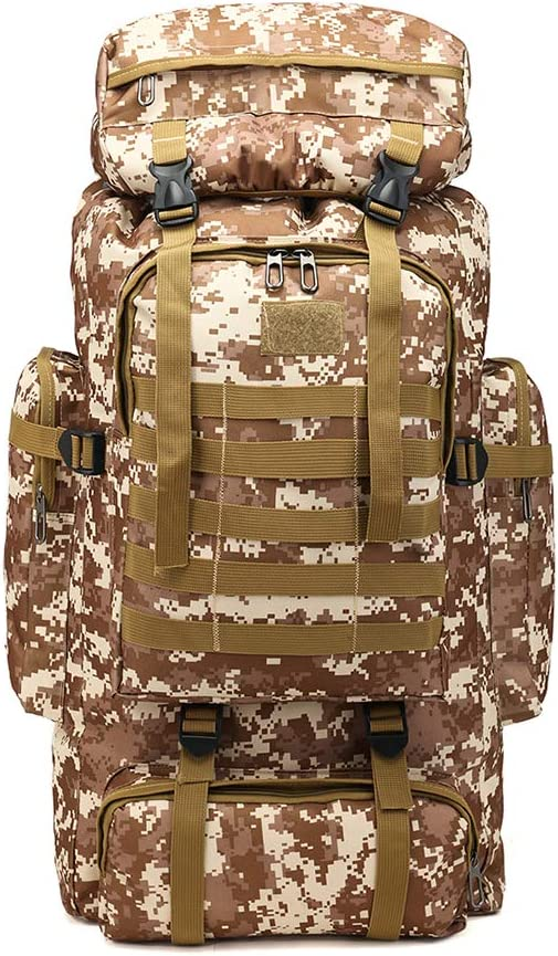 A tactical military backpack in camouflage brown color with extra compartments on top and both sides