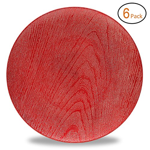 Fantastic:)TM Round 13Inch Plastic Charger Plates with Eletroplating Finish (6, Wood Red)