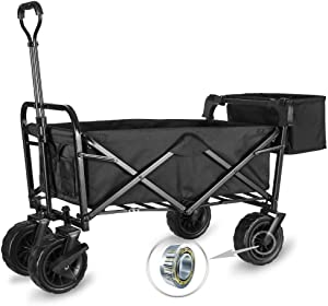 "WHITSUNDAY Collapsible Folding Garden Outdoor Park Utility Wagon Picnic Camping Cart with Fat Wheel Bearing and Brake (Standard Size(Plus+) 8"" Heavy Duty Wheels, Black)"