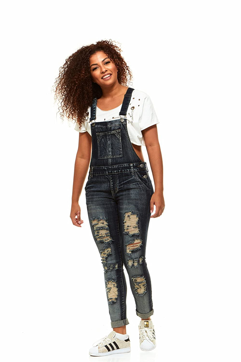 7e86de080 Amazon.com  V.I.P.JEANS Casual Blue Jean Bib Strap Pocket Overalls for  Women Slim Fit Junior or Plus Sizes Assorted Styles  Clothing