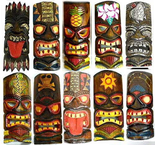SET OF 10 HAND CARVED POLYNESIAN HAWAIIAN TIKI STYLE MASKS 12 IN TALL]()
