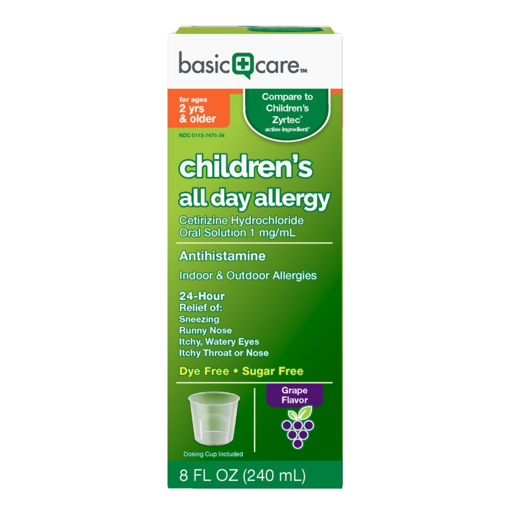 Basic Care Children's All Day Allergy Cetirizine HCl Oral Solution, 8 Ounce