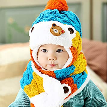 0b98cb978f1 Singhi Toddlers Cute Baby Boy Girl Kid Infant Winter 3 Colors Striped Beanie  Warm Hat Hooded Knitted Cap-Blue  Amazon.co.uk  Baby