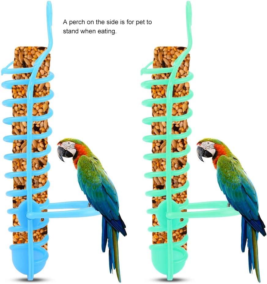 2 Pack Hanging Spiral Seed Feeder for Parrot Parakeet Cockatiel Conure African Grey Cockatoo Macaw Yosooa Portable Spiral Feeder Birds Parrot Fruit Holder