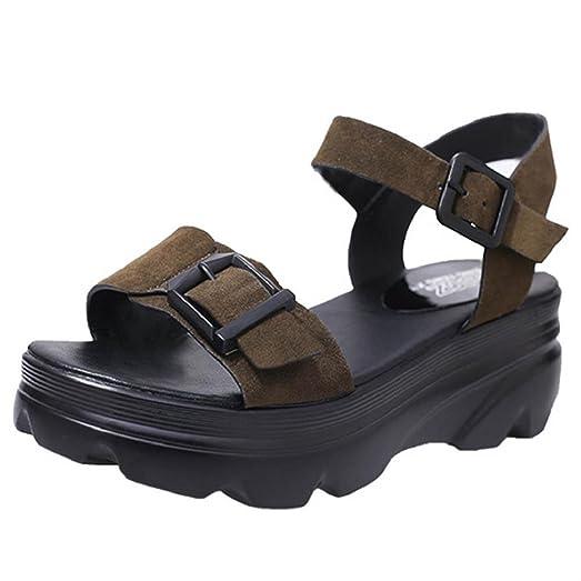 Elevin(TM)2017 Women Summer Casual High Thick Platform Shoes Fashion Peep Toe Buckle Strap Pumps Sandals (7.5US Black)