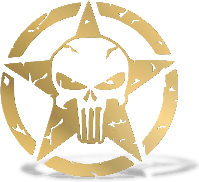 Erreinge Aufkleber Prespaced Gold 20cm Punisher Stern Military Armee Us Vinyl Aufkleber Aufkleber Aufkleber Mural Laptop Auto Moto Helm Camper Baumarkt