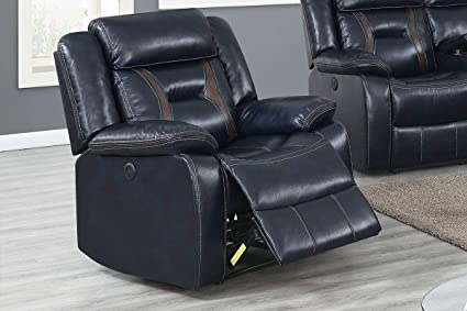 Astonishing Amazon Com 3Pcs Modern Ink Blue Gel Leatherette Power Sofa Spiritservingveterans Wood Chair Design Ideas Spiritservingveteransorg