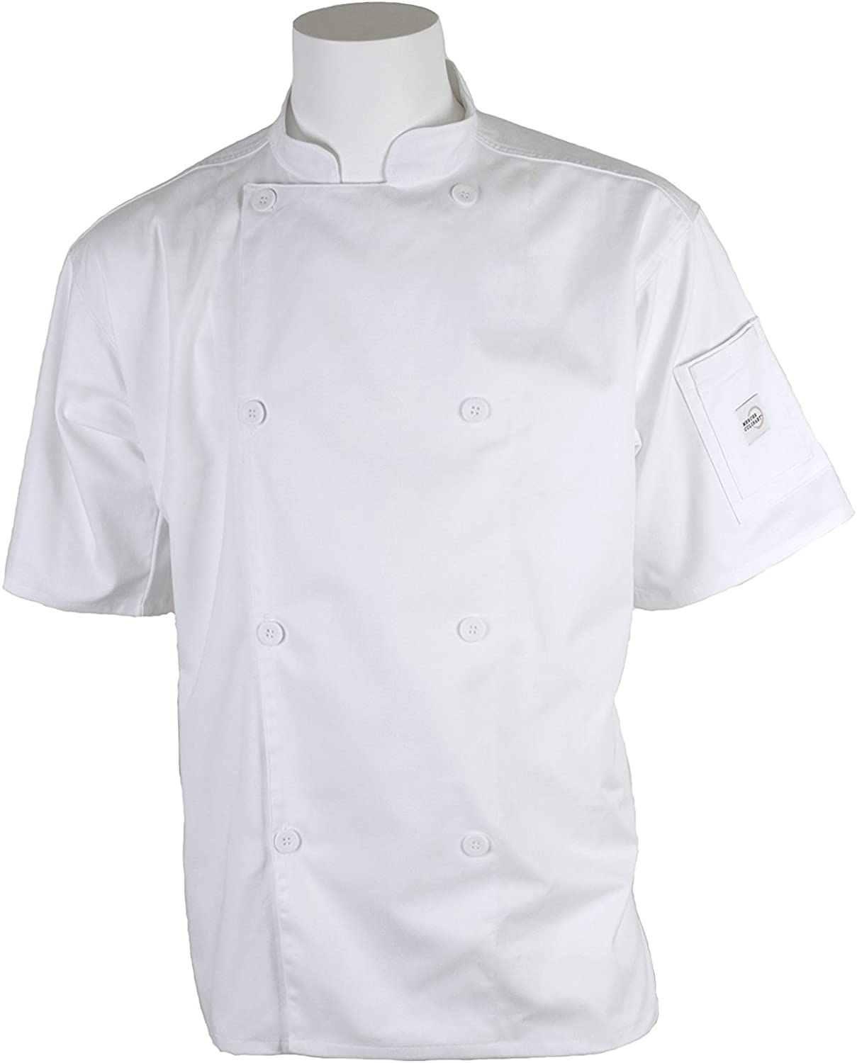 Mercer Culinary M61012WHL Genesis Men's Short Sleeve Chef Jacket with Traditional Buttons, Large, White