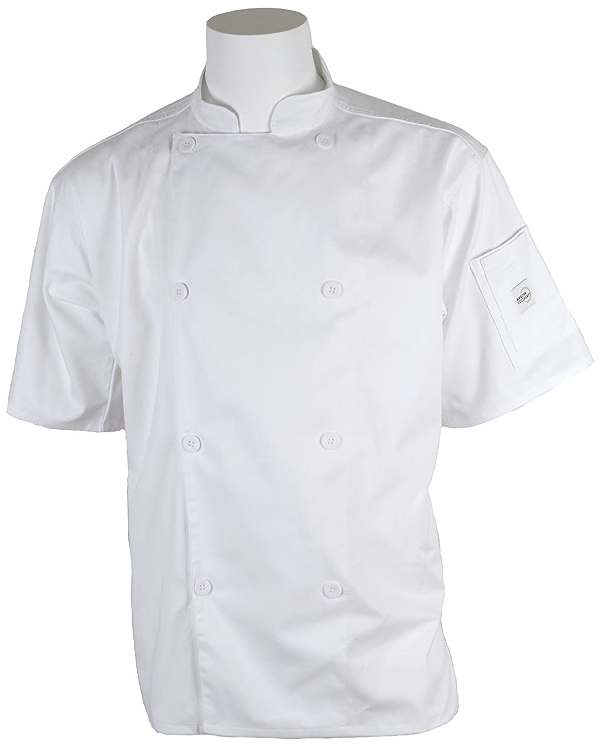 Mercer Culinary M61012BK3X Genesis Unisex Short Sleeve Chef Jacket with Traditional Buttons, 3X-Large, Black