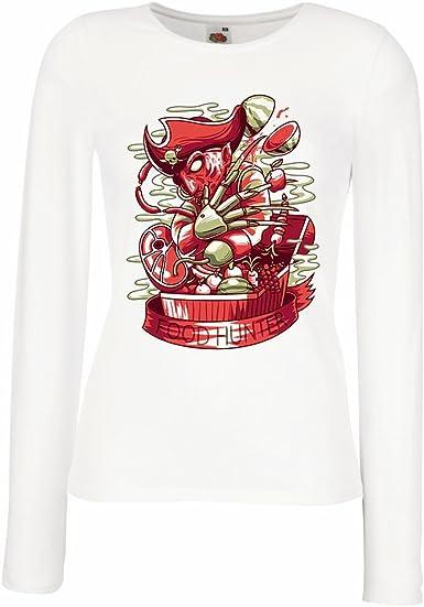 lepni.me Camisetas de Manga Larga para Mujer El Cazador de Alimentos, Freddy - Pesadilla aterradora, diseño de Parodia: Amazon.es: Ropa y accesorios