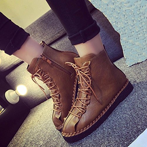 Fashion Women British Martin Boots Ankle Leather High Top Vintage Platform Biker Camper Shoes Brogues New Brown