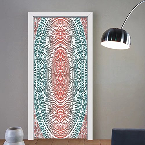Gzhihine custom made 3d door stickers Teal and Coral Ombre Mandala Art Antique Gypsy Stylized Folk Pattern Mystical Cosmos Image Teal Coral For Room Decor 30x79 by Gzhihine