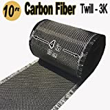 4 in x 10 FT - Carbon Fiber FABRIC-2x2 Twill WEAVE-3K - 220g-Black