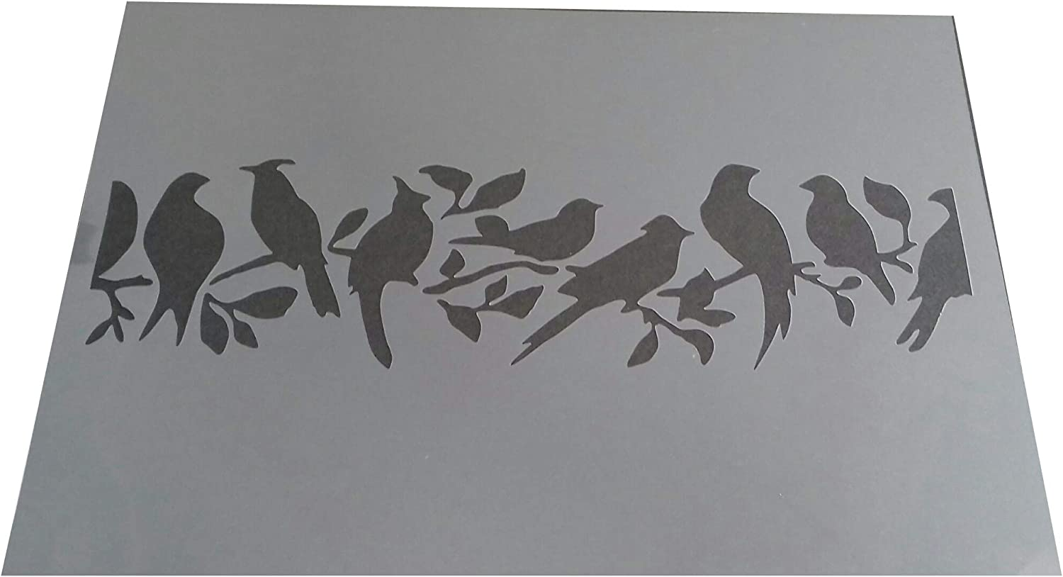 Vintage Shabby Chic Bird on Tree repeatable Plastic Stencil A4 297x210mm for Furniture DES1