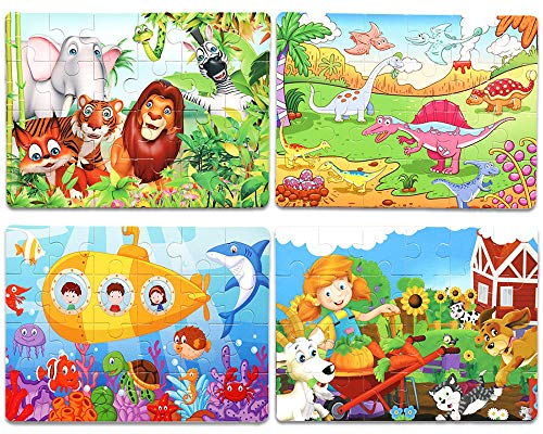 Wooden Jigsaw Puzzles Set for Kids Age 3-5 Year Old 24 Piece Colorful Wooden Puzzles for Toddler Children Learning Educational Puzzles Toys for Boys and Girls (4 Puzzles) ()