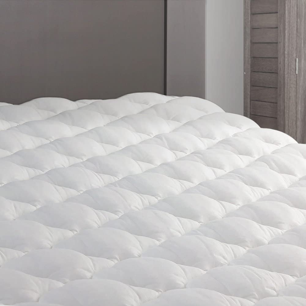 eLuxurySupply RV Mattress Pad - Extra Plush Topper with Fitted Skirt - Found in Marriott Hotels - Made in The USA - Hypoallergenic - Mattress Cover for RV, Camper - RV King