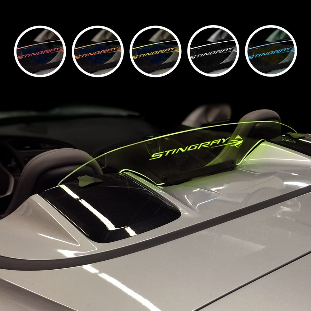 White Windrestrictor Chevrolet Corvette Wind Deflector for Convertible Made in USA Officially GM Licensed Corvette Accessories Stingray Logo Graphic Compatible with 2014-2018