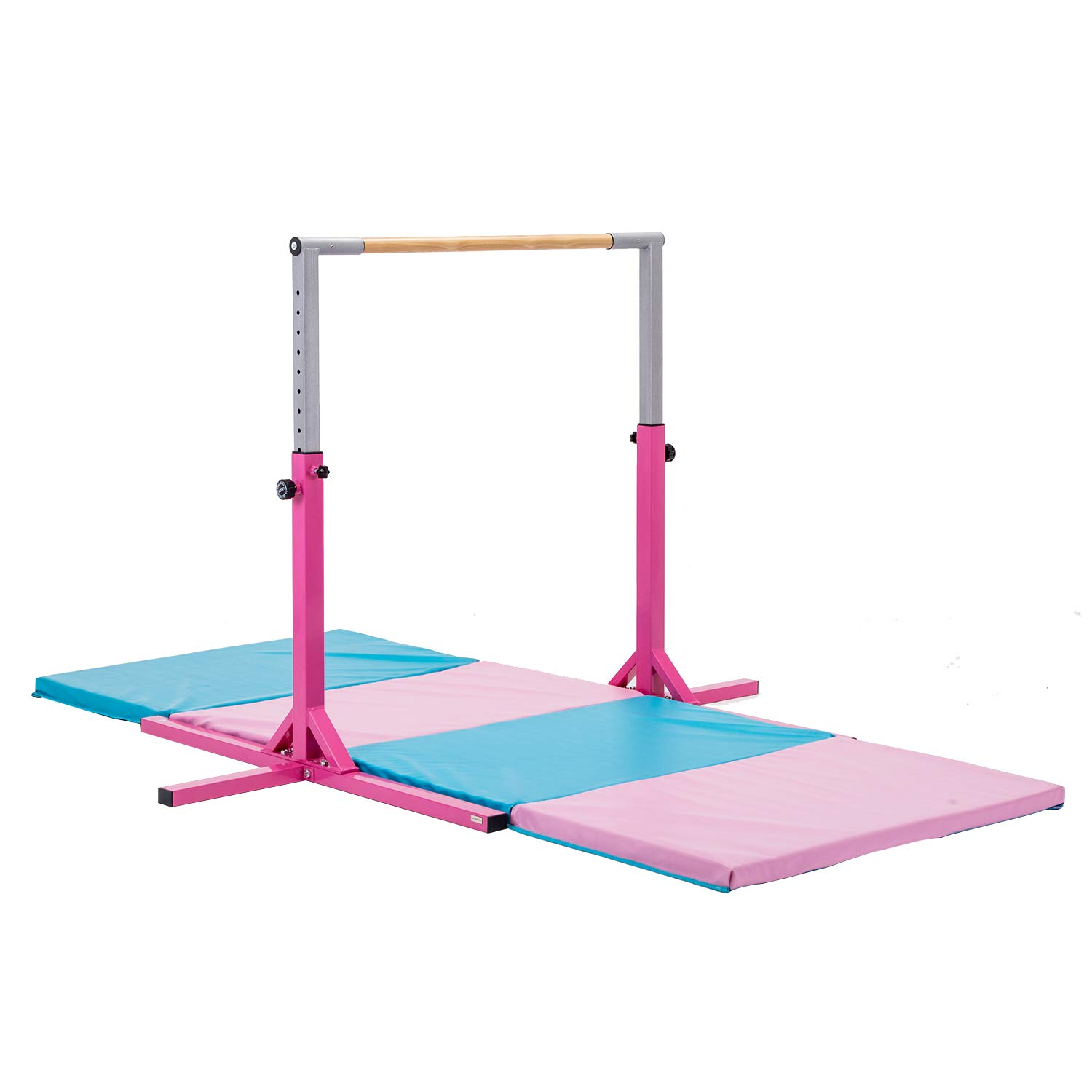 walsport Horizontal Bar with 10ft Folding Mat Combo Gymnastics Adjustable Height 3 to 4.6 Sturdy Expandable Gymnastics Equipment Junior Training for Young Gymnasts