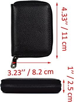 c19ff267b9c5 RFID Blocking Credit Card Organizer Wallet Genuine Leather Zipper Security  Travel Small Money Holder 20 Card Slots