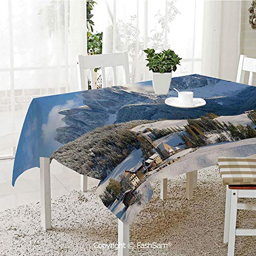 AmaUncle 3D Dinner Print Tablecloths Mountain Village Scenery in Winter with Snow Peaks Northern Zone Spot Alps Photo Kitchen Rectangular Table Cover (W60 xL104)]()
