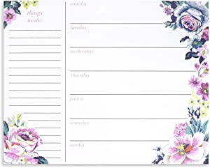 Vera Bradley Undated Weekly Planner Notepad, Floral to-Do List Pad for Desktop/Meals/Schedules, Garden Grove