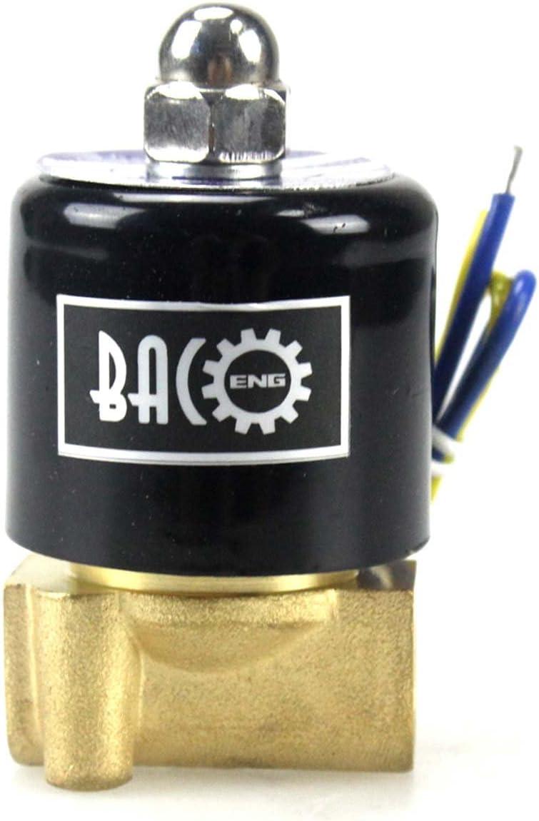 BACOENG DC24V 1//2 Edelstahl Elektrisches Magnetventil Wasser Gas NC