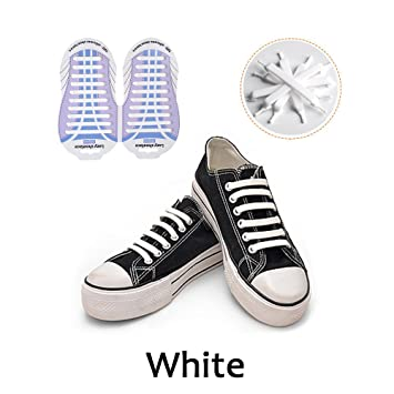 Cordones Silicona para Zapatillas - Impermeables Silicona EláStico CordóN de Zapato para Adultos y NiñOs - Sin Lavado para Zapatillas HaoXuan (Blanco): ...