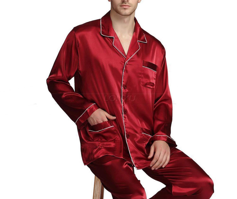 Mens Silk Satin Pajamas Set Pajama Pyjamas Set Sleepwear Loungewear,Wine Red,L by Toping Fine sleepwear (Image #3)