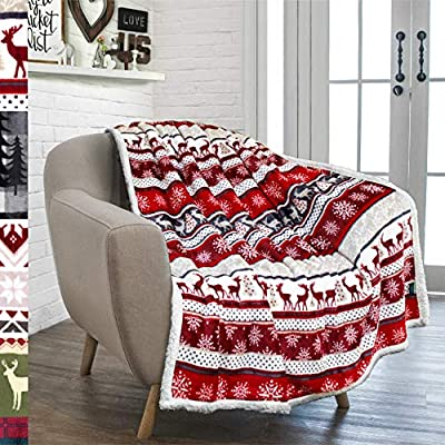 PAVILIA Premium Christmas Sherpa Throw Blanket | Christmas Decoration Reindeers, Fleece, Plush, Warm, Cozy Reversible Microfiber Holiday Blanket 50 x 60 - Measures 50x60 inches and ideal for watching TV and lounging on your sofa/bed. Also a perfect gift to give to your loved ones for the holiday season WARMTH, COMFORT, AND HAPPINESS IN ONE BLANKET - This blanket is equipped with super soft fleece fabric on one side and cozy sherpa lining on the other side to keep you warm and cozy while you lounge in your bed or sofa. BRING THE HOLIDAY CHEER TO YOUR HOME - Designed with a fun seasonal holiday print to keep the festive mood going! Makes a perfect Christmas gift. | Choose from multiple styles - blankets-throws, bedroom-sheets-comforters, bedroom - 61mJmGkRriL. SS400  -