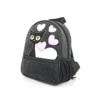 Gato Black Cat Collection mochila para viajes bolso de escuela para gato fan / mochila niña con pompones/full print / premium quality made in Europe 2018: ...