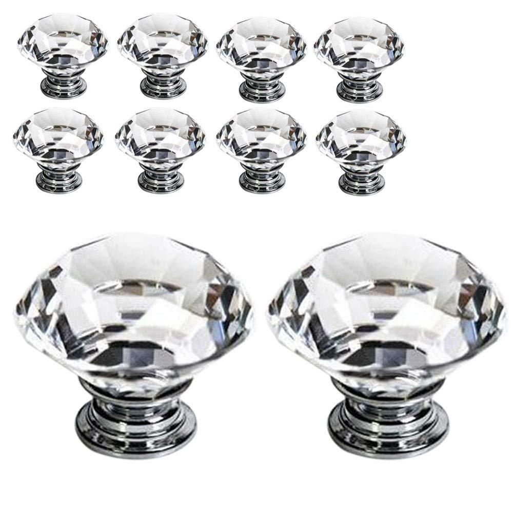 onecreation 1230mm Diamant Form Kristall Glas Möbelknopf für Schrank und Schublade, Transparent