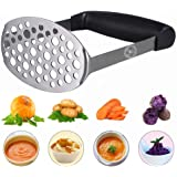 Starchef Masher Ricer,Stainless Steel Masher Ricer with Soft Handle, Baby Food Fruit & Vegetable Masher Ricer, Potato Ricer Masher(Black) …