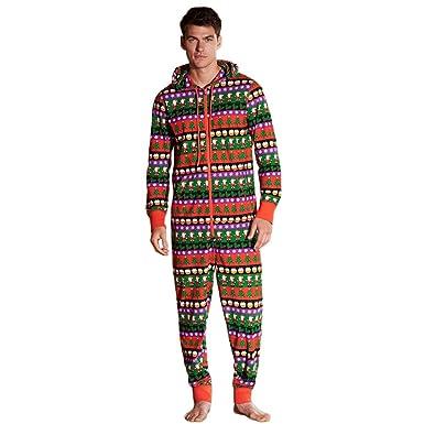 84aae3b9b0 Amazon.com  Bookear Big Men s Hooded Jumpsuit Onesie One Piece Pajamas  Christmas Print Zip Up Hoodie Nightwear  Clothing