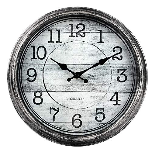 HYLANDA Retro/Vintage 12-Inch Kitchen Decorative Wall Clock, Silent Quartz Wall Cocks Battery Operated Non Ticking with Large Numbers Easy to Read for Home Bathroom Office(Silver) (Clocks For Big Kitchen)