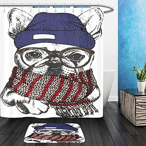 Vanfan Bathroom 2 Suits 1 Shower Curtains &  1 Floor Mats vector hand drawn portrait of cozy winter dog french bulldog wearing knitted scarf beanie and 519479815 From Bath room