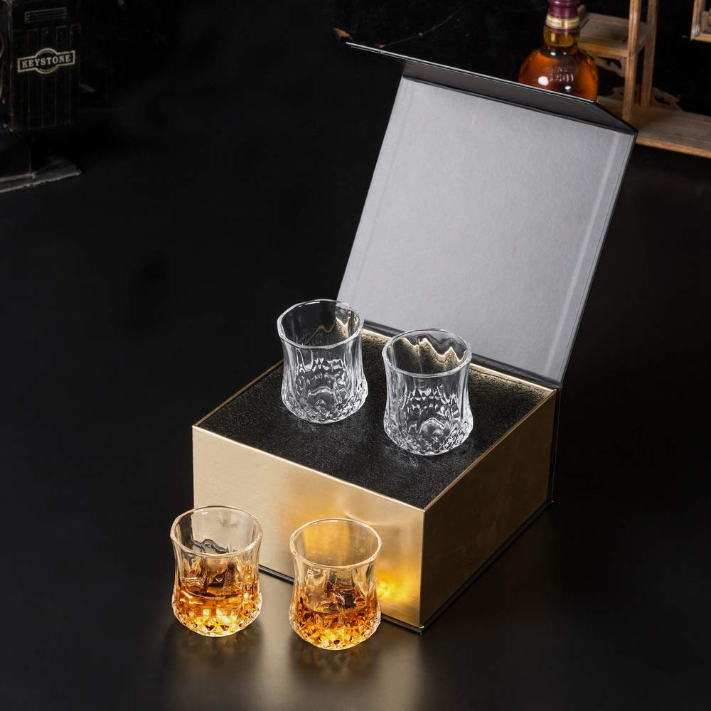 KANARS Small Whiskey Glasses With Unique Elegant Gift Box for Scotch, Bourbon Or Old Fashion Cocktail (7 Oz, Set of 4) by KANARS (Image #6)