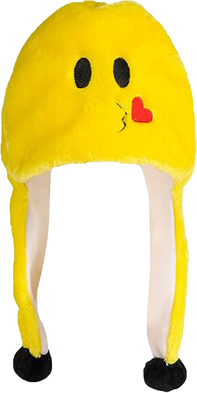 Emoticon POM POM Plush HAT Blowing Heart KISS Yellow