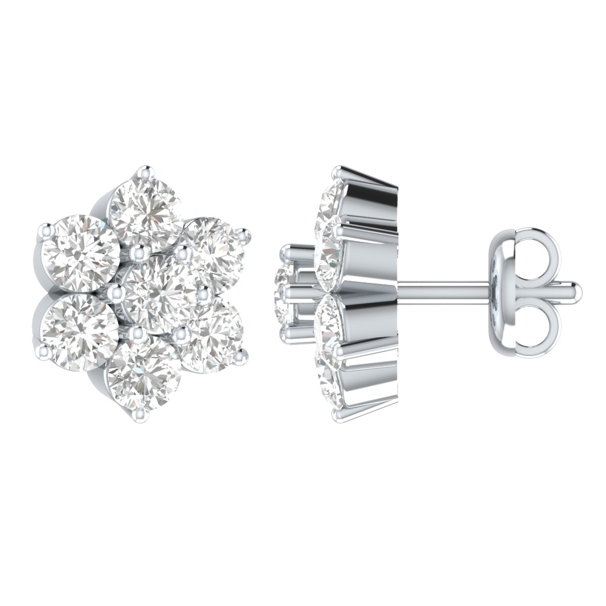 1//2 cttw, I-J Color, I2-I3 Clarity SDT15070/_DI/_WG-$P Demira Jewels IGI Certified Natural Diamond 10k White Gold Stud Earrings
