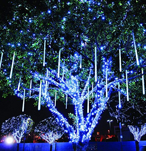 Amicool Meteor Shower Lights, Falling Rain Lights/Icicle Snow String Lights 30cm 8 Tubes 144 Waterproof LEDs Wedding Party Holiday Christmas Decorations