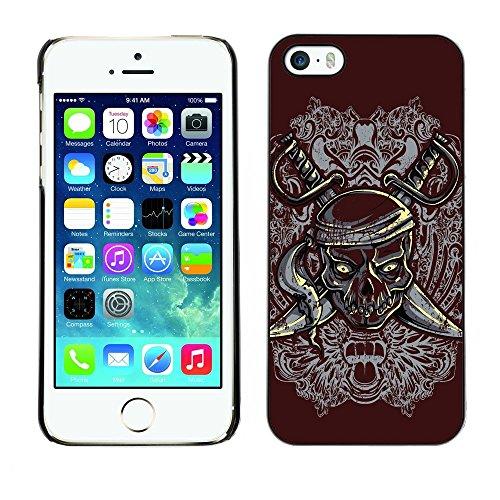 GIFT CHOICE / Mince Étui rigide Dur Housse de protection Slim Hard Protective Case SmartPhone Cover for iPhone 5 / 5S // Pirate Skull & Swords Crest //
