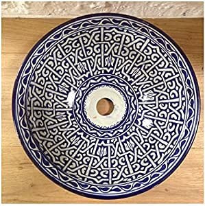 Fregadero de lavabo marroquí en cerámica, hecho a mano