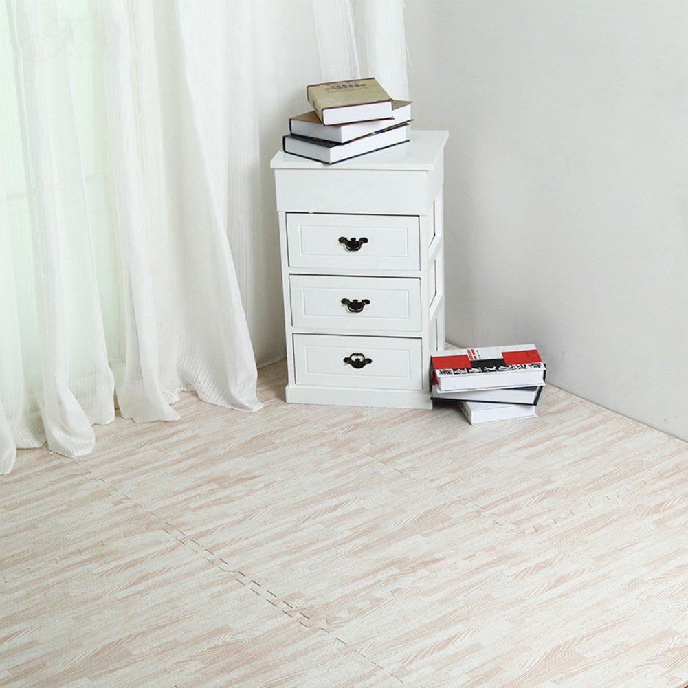 MATJK Foam Splice Mat, Children Puzzle Floor Mat, Waterproof Washable Wood Grain, Bedroom Tatami, 6 Pieces-B 2424inch
