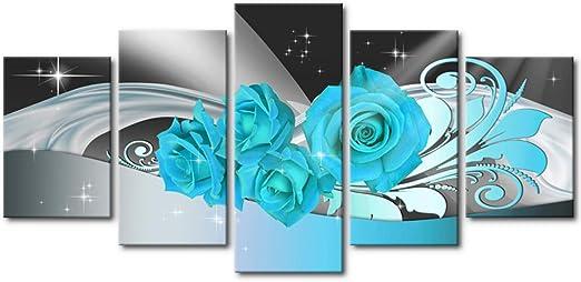 Blue Rose Flower Canvas Print Painting Framed Home Decor Wall Art Poster 5Pcs