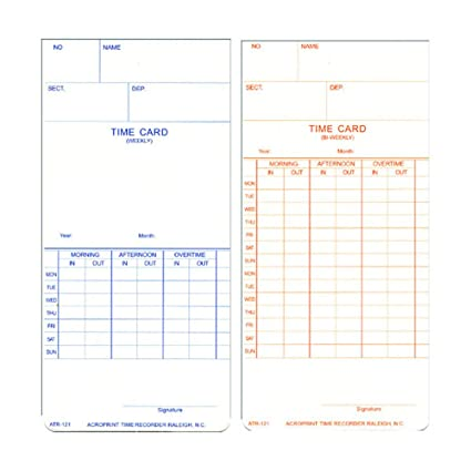 acroprint double sided weeklybi weekly time cards - Bi Weekly Time Cards