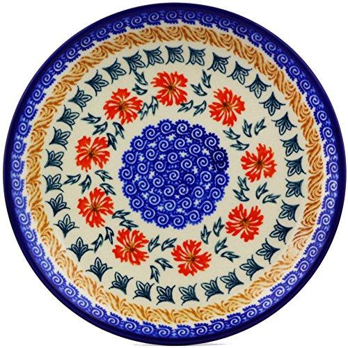 Polish Pottery Dessert Plate 7-inch (Red Cornflower Theme)