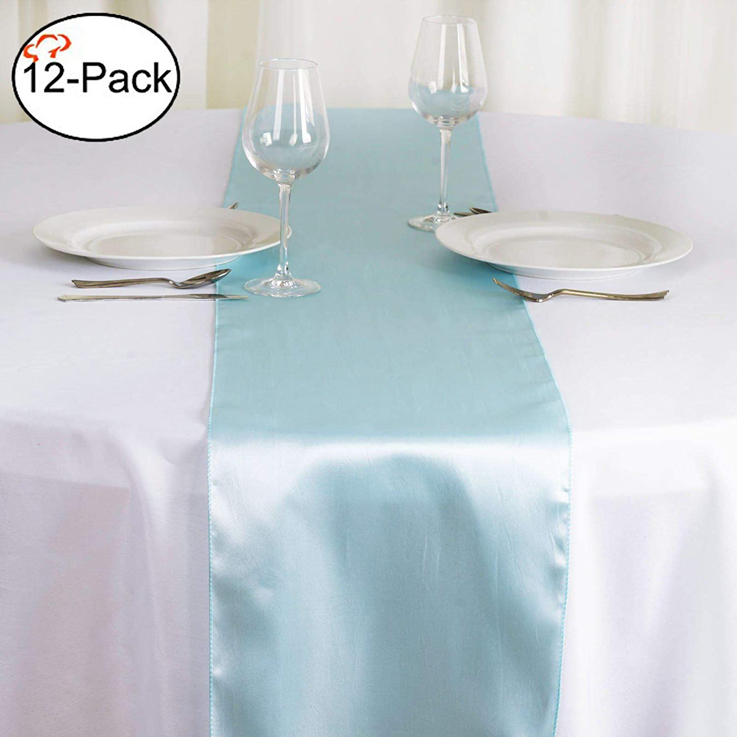Table Runners fit Rectange and Round Table Decorations for Birthday Parties Tiger Chef 12-Pack Burgundy 12 x 108 inches Long Satin Table Runner for Wedding Banquets Graduations,