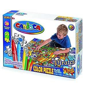 Carioca - Puzzle de doble cara para colorear, 35 piezas, 100 x 70 cm, incluye 36 rotuladores, diseño de escenario de aventuras