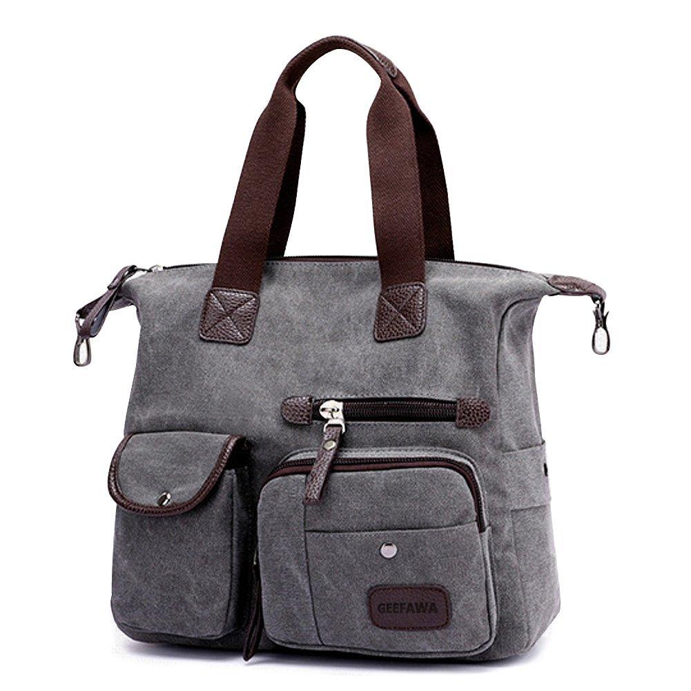 Women's Canvas Tote Bag Top Handle Bags Shoulder Handbag Tote Shopper Handbag crossbody bags (Gray) by Greatbuy-US (Image #2)