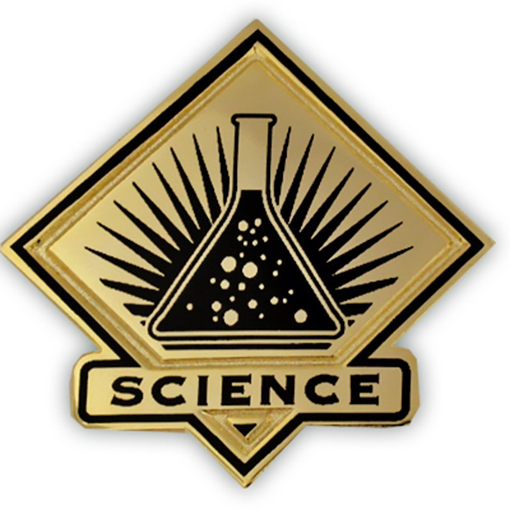 PinMart's Black and Gold Science Student School Teacher Lapel Pin